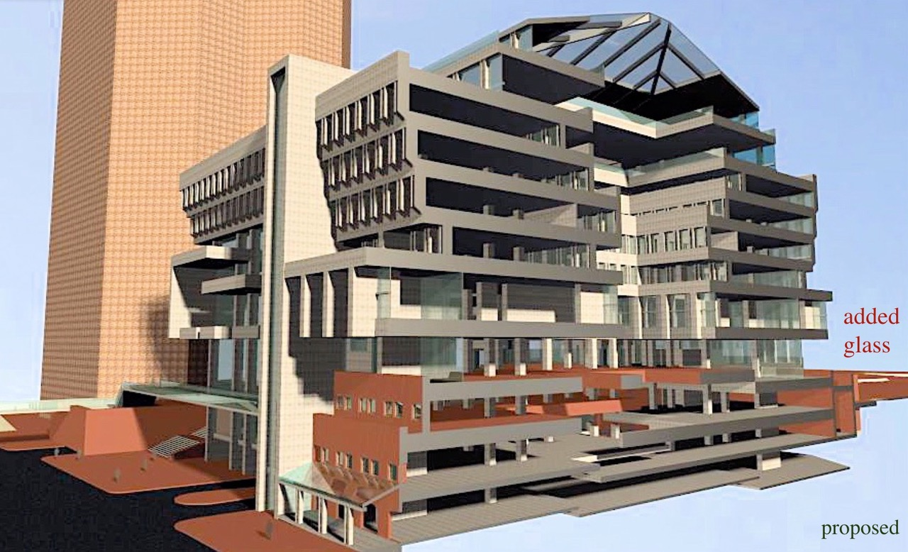 Section view of City Hall. A vision of the Greening Boston City Hall project.