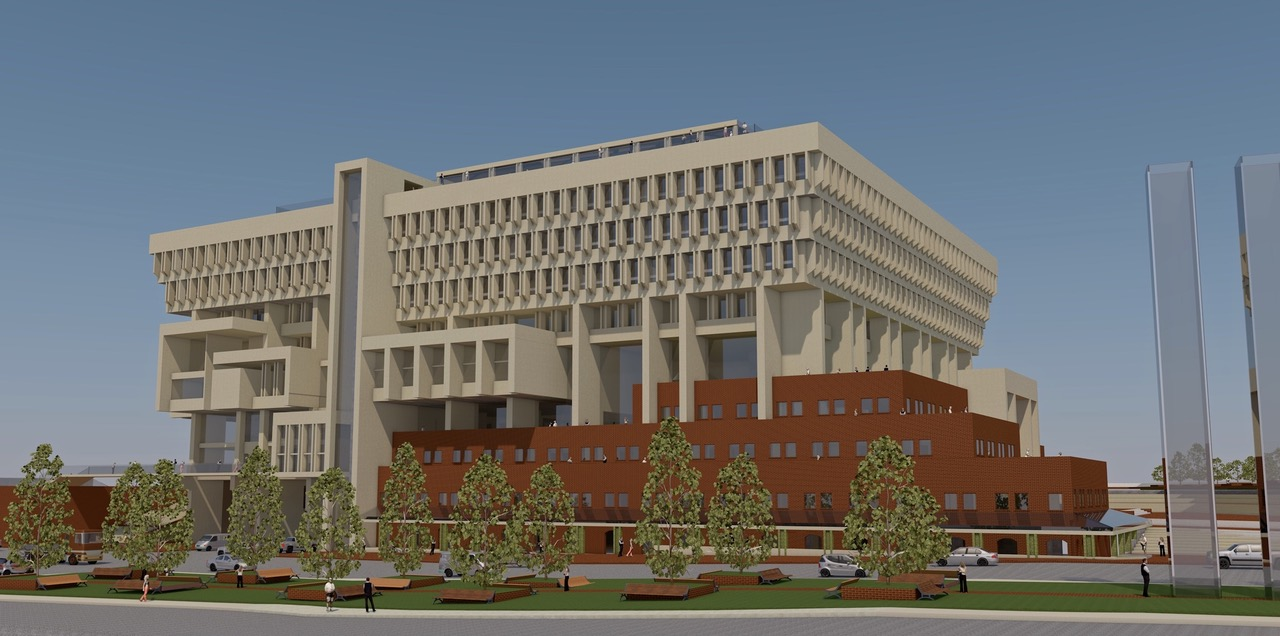 View of City Hall from East. A vision of the Greening Boston City Hall project.